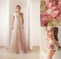 High Neck short tulle prom dress - 2013 New Sexy Short Sleeves Tulle Prom Dresses Print Beaded High Collar Sash Wedding Dresses DS03