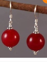 Wholesale Tibet silver mm big red jade women s earrings