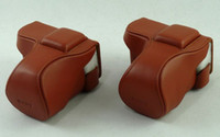 Wholesale manual oxhide camera cover case brown for Sony NEX5 NEX n NEX5c leather bag for camera