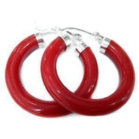Wholesale Beautiful tibet silver red jade earrings