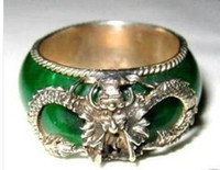 Wholesale Elegant Tibet silver dragon and green jade men s ring