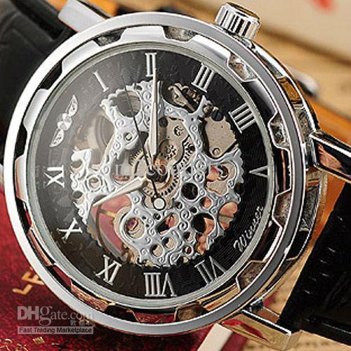 men mechanical skeleton watches transparent 6 hands steel case see larger image