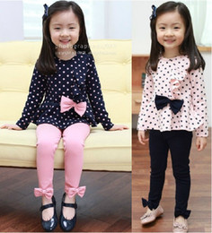 Children's suits Girl's falbala point coat+Leggings 2 Pieces set.