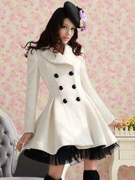 Wholesale Womens Coat Dress Parka Slim Fit Peacoat White Color Outwear Coat