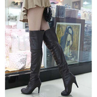 Wholesale New Black Sexy Platforms PU Leather Back Zip Over Knee High Heel Boots woman lady