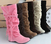 Snow Boots best boots for snow - Best Seller Tassels Nubbuck High Heel Boots For Women Knee High Round Toe Shoes PLUS SIZE