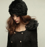 Wholesale winter Women RABBIT Fur Hat Knit Cap handmade warm fashion hat