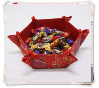 Food decorative fruit - Collapsible Fruit and Candy Baskets Home Decorative Storage Cube Chinese Silk Fabric Hexagon Containers mix Color Free