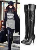 Wholesale Women s Genuine Leather Platform Over Knee Thigh High Heel Boots Size US SH033