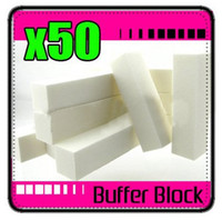 Wholesale 50 X WHITE BUFFER BLOCK ACRYLIC NAIL TIPS SANDING FILES nail care buffer