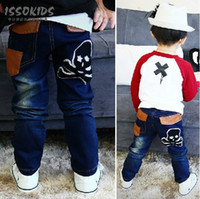 Wholesale ISSOKIDS Children Pants Boy PU imitation leather jeans Elastic Waistline Pants Baby Clothes A1258