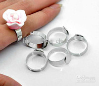 Wholesale DIY Stainless Steel Adjustable Ring Base Blank Glue on mm