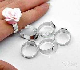 Wholesale DIY Stainless Steel Adjustable Ring Base Blank Glue on mm