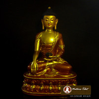 Carved antique religious statue - K Tibetan Buddhist Shakyamuni Buddha Brass Gold plated Buddha Statue CM Metal Sculpture