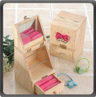 Wholesale New Arrivals Korean Bowknot Clamshell Wooden Storage Jewelry Box