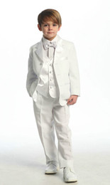 Wholesale White Or Ivory Colour Four Pieces Jacket pants Bows Waistcoat Customer Made Boys Tuxedos