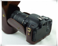 Wholesale EOS D SLR leather case bag for canon EOS D Coffee and green