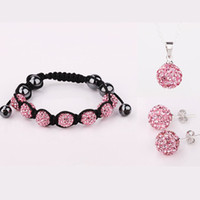 Others Women's Acrylic, Resin, Lucite Shamballa Jewelry Sets, Crystal Beads Bracelets Necklace Earrings Jewerly, 925 Silver Jewelry Set