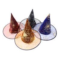 Wholesale Halloween witch hat printing spider Party hat witch hat suitable for children and adult