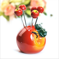 Wholesale Promotional Gifts Beautiful Apple Flower Pot Fruit Fork Set Party Items sets a free EMS
