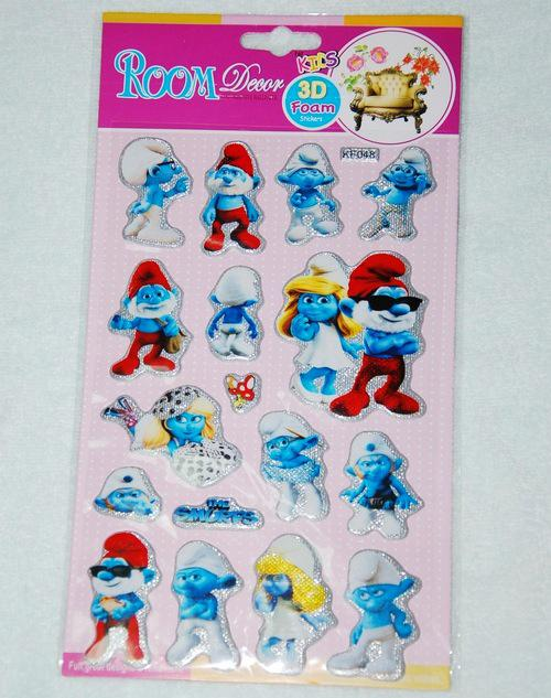 2017 kids 3d foam stickers room the smurfs cat mouse for Room decor 3d foam stickers
