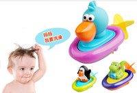 Wholesale Sassy Pull and Go Boat Bath Toy Penguin Dinosaur pelican Pull string Toy kids swimming water toys