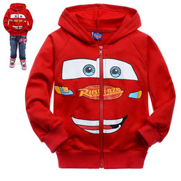 Wholesale Children s RED CARS McQueen cotton long sleeve zipper jacket baby sport cartoon coat kid s outwears