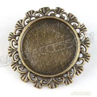 Wholesale Alloy Fashion Lace Round Brooch Antique Bronze Plated Charms Fit Jewelry Making