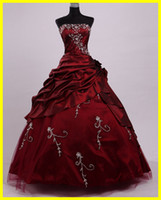 Wholesale In stock Real sample size Burgundy Strapless Prom Evening Sweet Quinceanera Dresses
