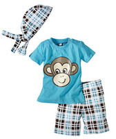 Wholesale Boy s Suits t shirts pants hats three pieces suits set baby clothes Monkey chinacompass