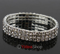 Wholesale 14pcs Fashion Rhinestone Crystal Bracelet Rows Wedding Bridal Copper Bracelet Gift Party