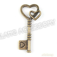 Wholesale 60pcs Level Heart Key Shape Pendants Antique Bronze Plated Charms mm Fit Jewelry DIY