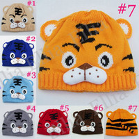 Wholesale Toddler Tiger Crochet Hat Baby Handmade animal Beanie Hat Hand Beanies Kids Knitted hat H001