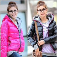 Wholesale 4 Colors autumn winter women s coat with a hoody thermal wadded jacket cotton padded outerwear