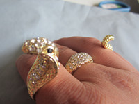 china wholesale - full rhinestone snake rings lovely three finger rings whosales frop ship via China post