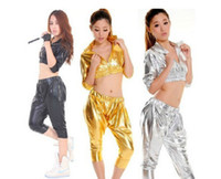 Wholesale 2015 New Harlan Fashion Suit DS Pole Dancing Sexy Costumes Patent Leather Jazz Hip hop Female Performnce Modern Party Girl Dancerwear