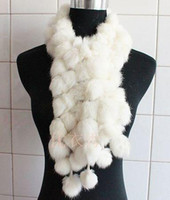Wholesale 10pcs Women s Fur Scarves Fur Ball velvet Rabbit Long style Woman Winter white Scarves
