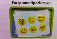 mixed apple face pack - Free Ship Packs D Smiling Face Home Button Sticker for Apple iphone S ipad itouch Touch