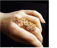 Wholesale Hollowed Leaf Ring Fashion Gold Plated Jewerly