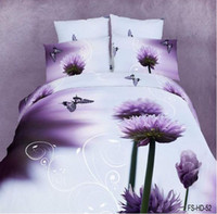 Wholesale 3D Cotton Comforter Set reactive dye Bedding Purple Daisy Butterfly AB pattern Quilt Cover set