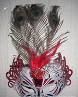 Wholesale miss Hot Sale Three Peacock Feather Maske Face Masquerade Masks Brand New Wonderful Christmas