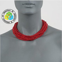 Wholesale Multi Strand Red Coral Bead Necklace In kt Gold Over Sterling Silver gift box