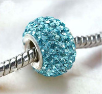 Wholesale Top Sale Silver Core Aqua Blue Crystal Beads Rhinestone Beads Big Hole Loose Fit Bracelet