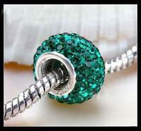 With Metal Elements Crystal  60pcs Deep Green 925 Silver Core Crystal European Loose Beads Rhinestone Beads Fit Charms Bracelet