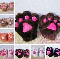 Wholesale Baby Gloves Baby Bear Mittens Fuzzy Mocha with Dark Claws Plush cm for Baby and adult