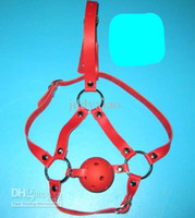 Wholesale female use red Leather Head Harness Restraint Mouth Ball Gag Head Hood Sex Toy Bondage JD723