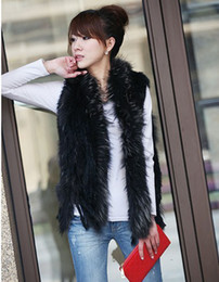 Wholesale 2012 New Designing Super Black Rabbit Fur Stripe Raccoon fur collar and trim Knitted Rabbit Fur Vest