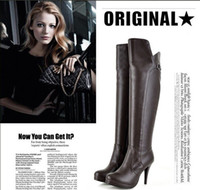 Wholesale New Arrival Woment s thigh high heels leather boots on sale Ladies boots with belt buckle high quali