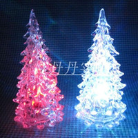 Wholesale 7Colors Changing Christmas Ornament Crystal Tree LED Night Light Festive Decoration Supplies
