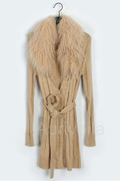 Wholesale Korean Fashion Lamb Fur Collar Long sleeved Long Section Waist Single Breasted Cardigan Coat Sweater